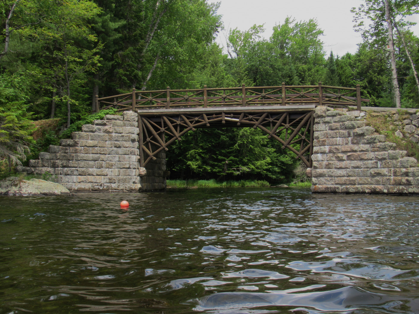 The bridge between Blue Mountain Lake and Eagle Lake