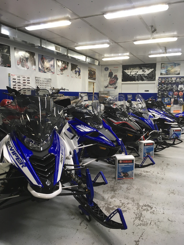 Snowmobiles at Village Motors in Speculator.