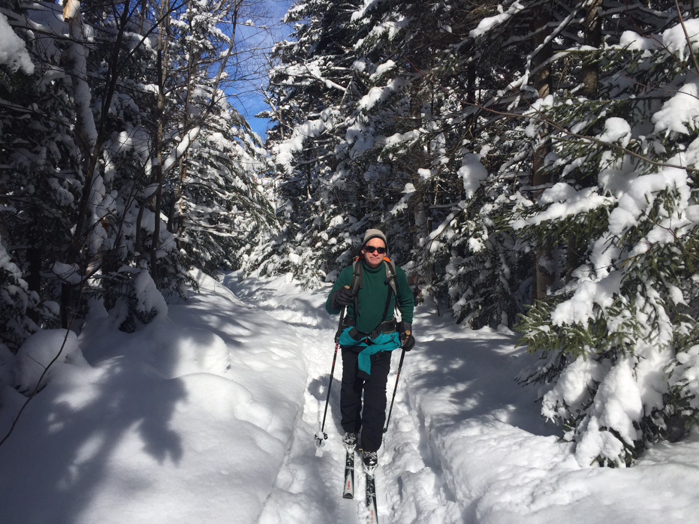 Cross-country skier on wooded trail with heavy snow