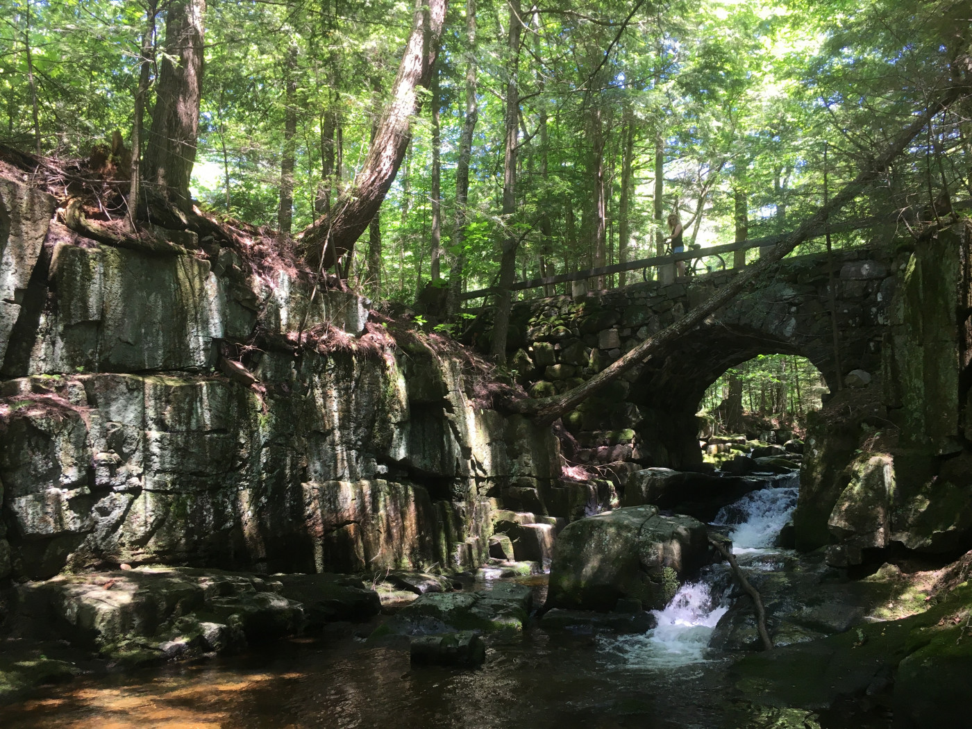 The stone bridge over Falls Brook at Lewey Lake Campground.