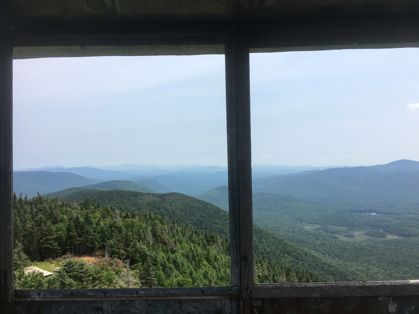 Looking out of Wakely fire tower's east window.
