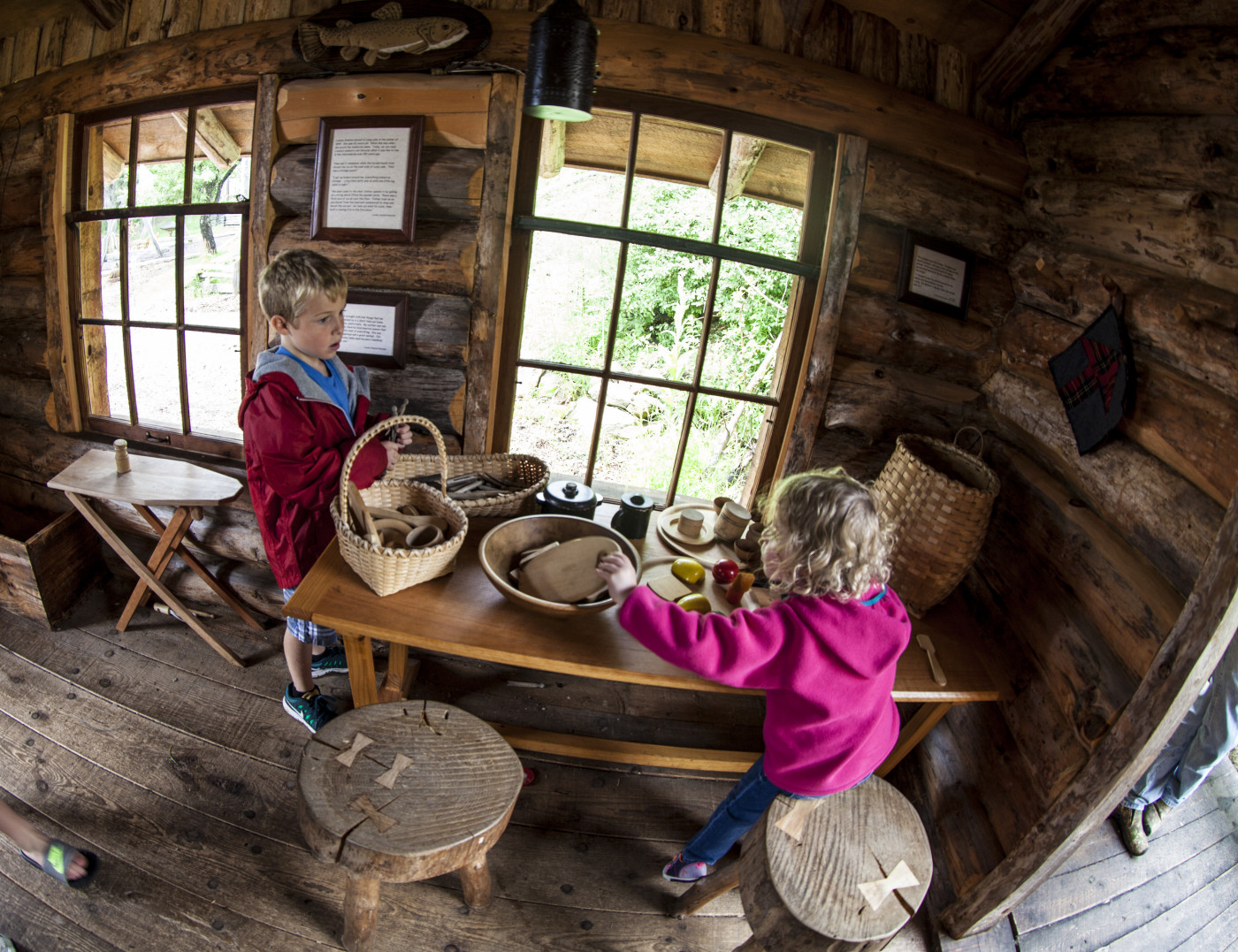 Kids play at the Adirondack Experience, the museum on Blue Mountain Lake