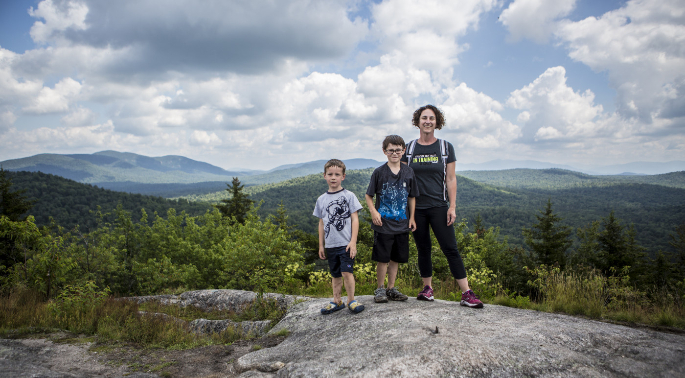 Mom and kids on top of Coney Mountain